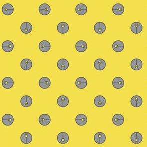 Modern Trendy Yellow and Gray Symbol Polka Dots