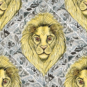 African lion damask, large scale, yellow gray grey slate blue brown taupe white black