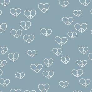 The minimalist boho love and peace hearts pace icon stone blue