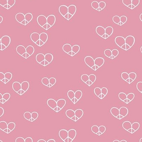 The minimalist boho love and peace hearts pace icon girls pink