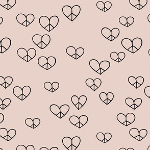 The minimalist boho love and peace hearts pace icon neutral sand beige