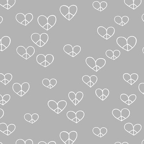 The minimalist boho love and peace hearts pace icon neutral gray