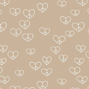 The minimalist boho love and peace hearts pace icon neutral ginger beige brown