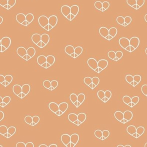 The minimalist boho love and peace hearts pace icon apricot peach burnt orange
