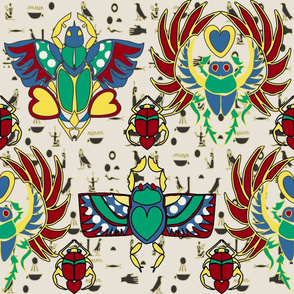 Egyptian Scarabs and Symbols cream