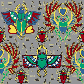 Egyptian Scarabs and Symbols ultimate gray