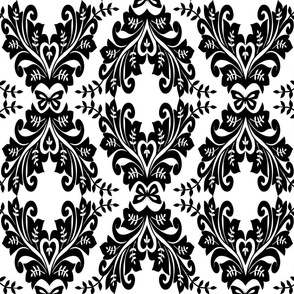 Black and White Butterfly Damask