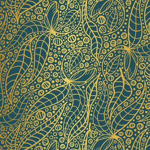 linear botanicals in teal and yellow