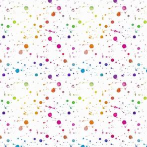 Rainbow Bright Pastel Watercolor Drops, Splatters and Dribbles