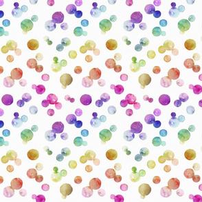 Rainbow Bright Pastel Watercolor Drops and Bubbles