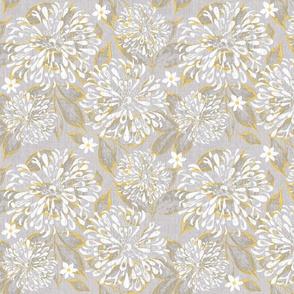 Yellow and Gray Zinnia Garden Linen