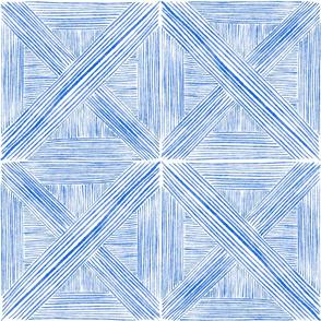Blue Watercolor Basketweave - Large Scale