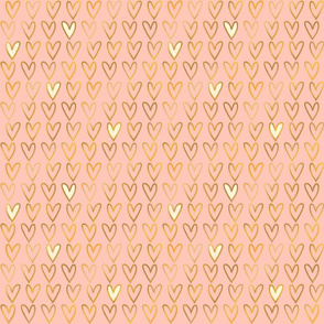 Gold Foil Hearts on Blush