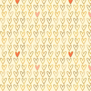 Gold Foil Hearts on Cream