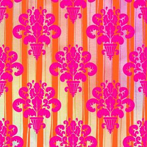 Neon Ombre Regency Striped Floral Damask Urns