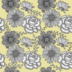 Flowers Line Art - Gray & Yellow