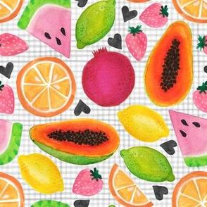 fruity heart on mini gingham
