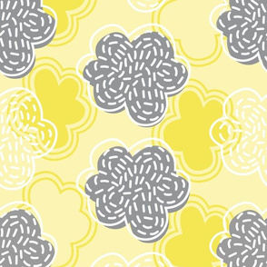 Sashiko clouds with silver linings - yellow and grey