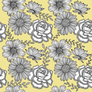 Flowers Line Art - Pastel Yellow