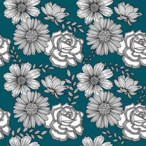 Flowers Line Art - Teal