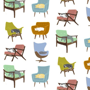 Cats Sleeping on Mid Century Modern Chairs