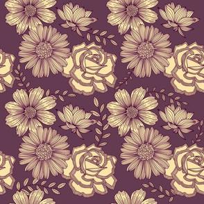 Flowers Line Art - Sepia