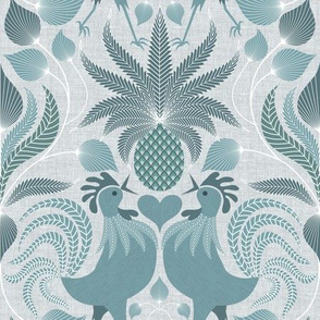 contemporary welcome pineapple and rooster
