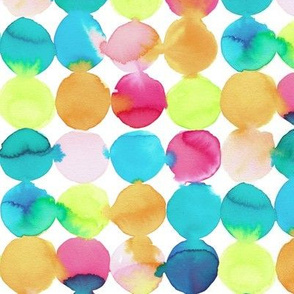 Watercolour spots in messy teal, blue, orange, green and pink on white