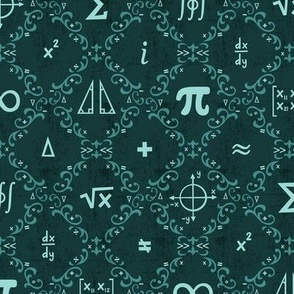Math Damask (Teal)