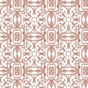 Moroccan Tiles In Coral(White Background)