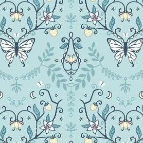Butterfly Damask wallpaper