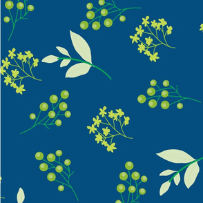 leaves and berries on blue BG