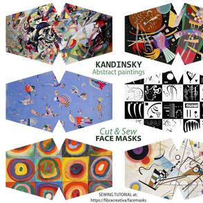 Kandinsky face mask cut outs - abstract paintings