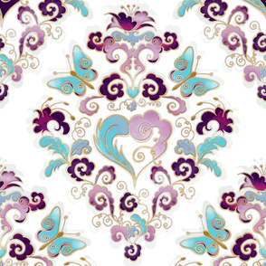 candy nouveau heart damask
