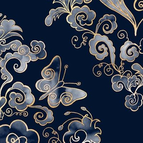 Heart-Damask dark blue