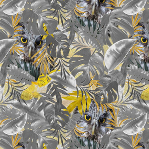 Grey yellow leaves and many owls on a modern wallpaper