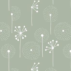 Scandinavian boho dandelion flower blossom garden summer fall eucalyptus sage green