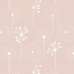 Scandinavian boho dandelion flower blossom garden summer fall soft blush beige