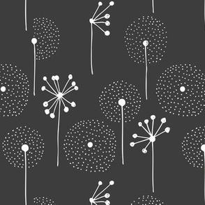 Scandinavian boho dandelion flower blossom garden summer fall charcoal grey white