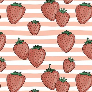 Strawberries and stripes summer fruit garden with blush orange strokes and vintage red