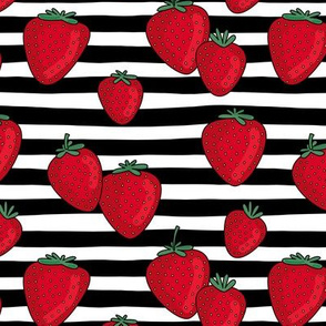 Strawberries and stripes summer fruit garden with black strokes and bright red