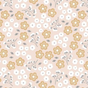 Little butterflies daisy flowers and buttercup garden branches romantic floral boho design soft pastel nursery blush ochre white