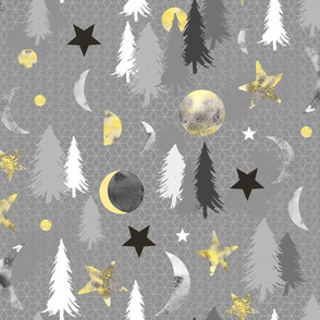 Lunar Forest - yellow & gray