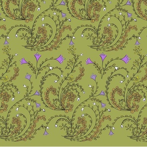 fantasy modern damask in green-gold-yellow-white-black-lilac-on-light-green-bkgd
