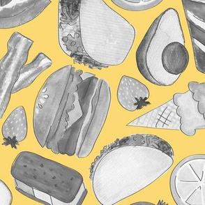 all the foods- gray & yellow (medium)