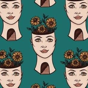 Surreal Woman's Flower Head