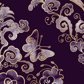 Heart-Damask dark violet