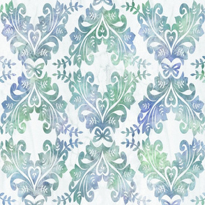 Watercolor Damask Large in Blue and Green