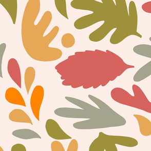 Retro Fall in Love - Earthy Matisse Foliage - L