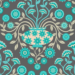 Dreamy Damask with Flowers in Vase in Turquoise Teal Cream on Dark Gray - LARGE Scale - UnBlink Studio by Jackie Tahara